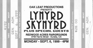 Lynyrd Skynyd concert ticket