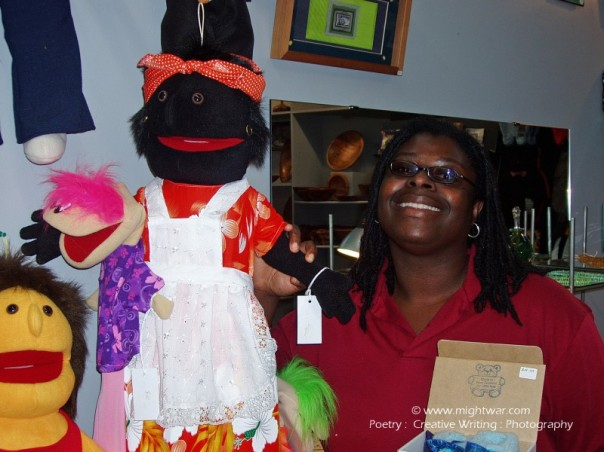 mightwar with black cloth doll